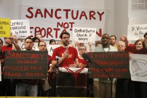 The New Sanctuary Movement of Philadelphia gathered with congregational leaders to hold a press conference on September 25. The press conference was held at Philadelphia Praise Center, one of several congregations participating.