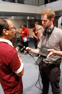 Aldo Siahaan, pastor of Philadelphia Praise Center, being interviewed at the press conference.
