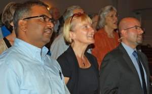 MWC leaders join in the kick-off celebration. Left to right: Vikal P. Rao of India, assembly program committee; Liesa Unger of Germany, MWC chief international events officer; and César García of Colombia, MWC general secretary. Photo by Merle Good
