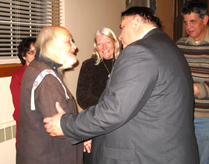 Steve Cheramie-Risingsun greets a lcoal Native American leader.